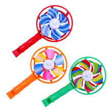 цены 11.7*6.2cm 2020 Cute Kids Toys Colorful Plastic Small Windmills Children Plastic Windmill Whistling Handle Party