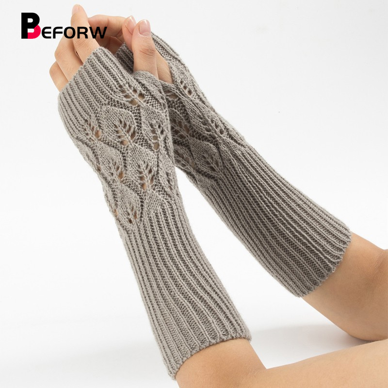 BEFORW 2019 New Fashion Winter Knitted Fingerless Long Gloves Jacquard Warm Half Finger Typing Wool Gloves For Women