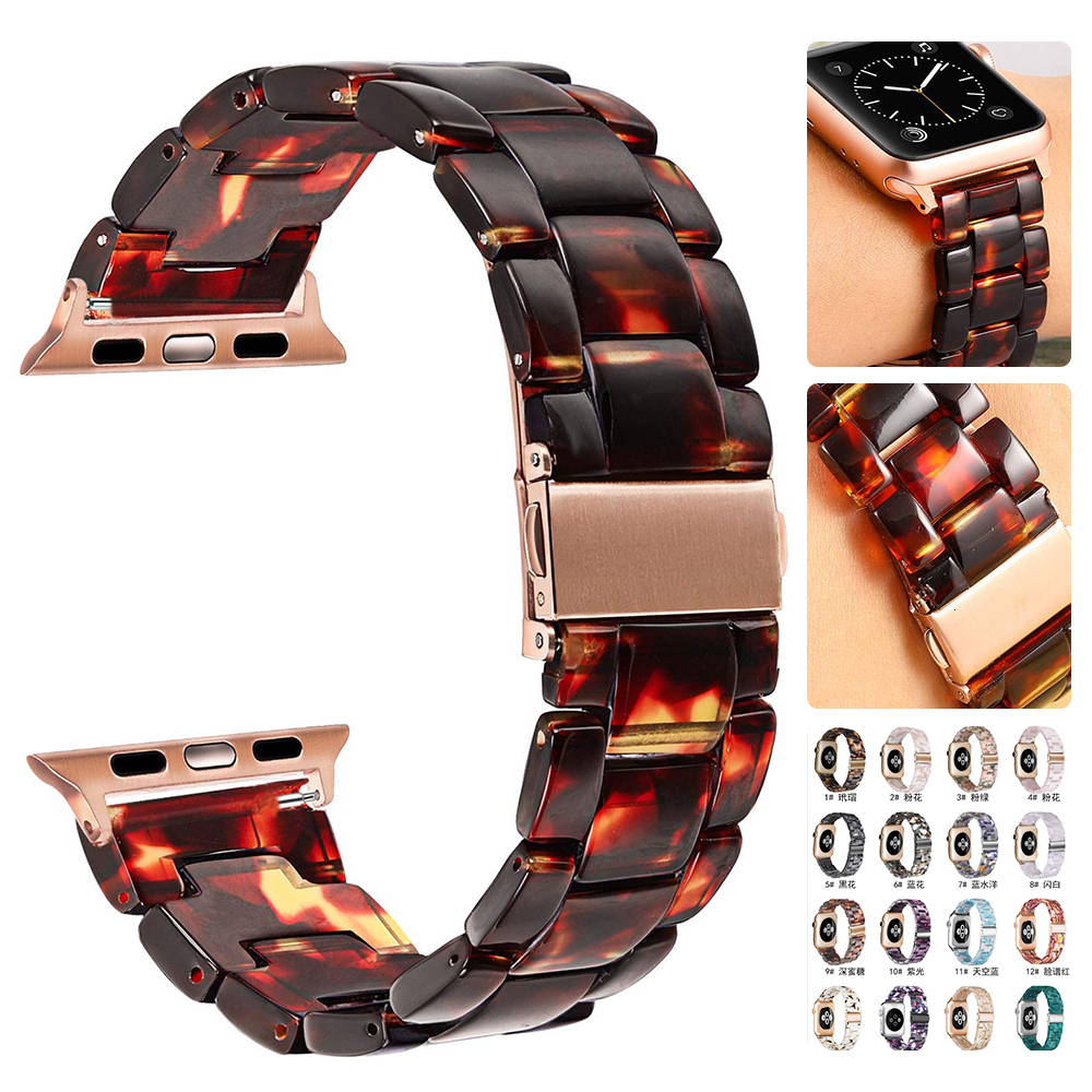 Resin strap For Apple Watch 44mm band iwatch Series 5 4 3 2 1 Wrist watch Accessories 42mm loop 38mm bracelet Replacement 40mm