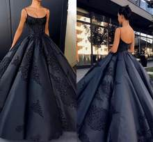 2020 Sparkly Black Spaghetti Straps Satin Ball Gown Evening Dresses Sleeveless Lace Appliques Backless Prom Dress African Arabic(China)