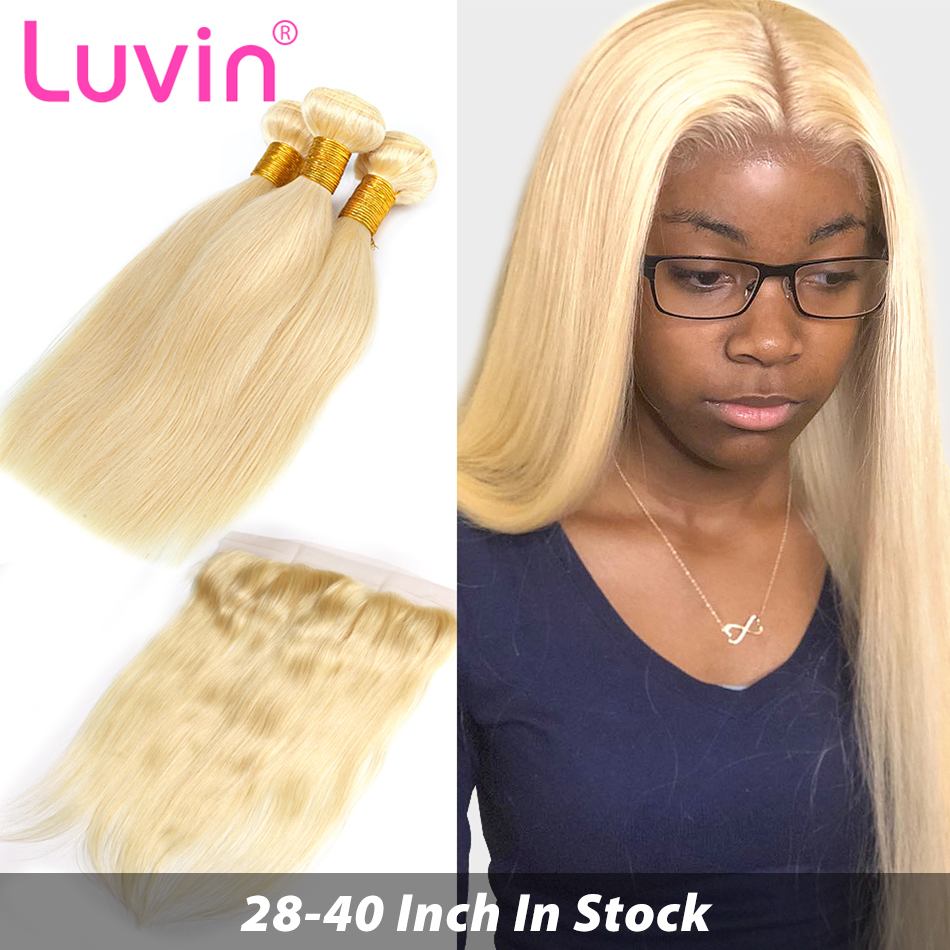 Straight 28 30 32 34 40 Inch Brazilian Remy Human Hair Weave 613 Blonde 3 4 Bundles With13x4 HD Transparent Lace Frontal Closure