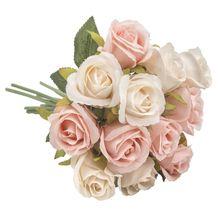 Imitación seda Rosa Artificial 12 cabezas ramo Vintage para novia dama de honor boda accesorios jardín decoración del hogar