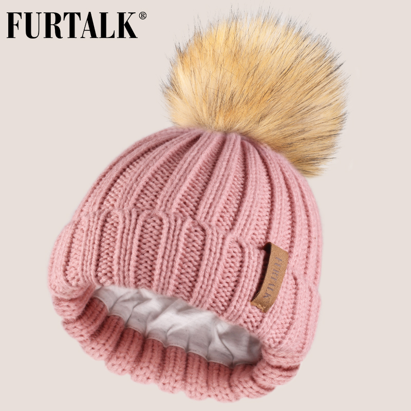 FURTALK Kids Winter Hat Faux Fur Pom Pom Hat Baby Boys Girls Knitted Beanie Hat Ages 1-10 Year Child Winter Cap