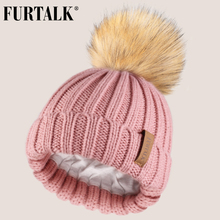 FURTALK Kids Winter Hat Faux Fur Pom Baby Boys Girls Knitted Beanie Ages 1-10 Year Child Cap