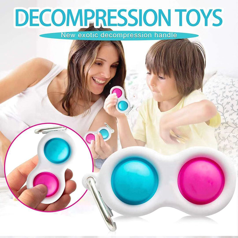 Simple Dimple Fidget Toy Stress Relief Hand Toys Beautiful Sublimation Design for Kids and Adults Keychain Featuring Easily Attaches to Keys Two dimple , Three dimple