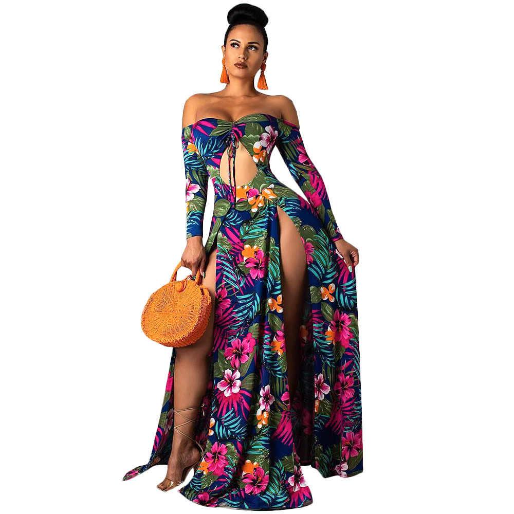 Adogirl seksi Hollow Out yüksek yarık elbise kadınlar zarif kapalı omuz çiçek yaprak baskı uzun elbise rahat plaj elbise Vestidos Robe