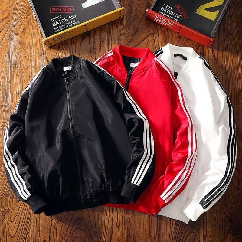 Fashion Japanese Jacket Men Clothes Men Jacket Hip Hop Bomber Jacket Streetwear Coat Men Cool Striped Autumn Solid Hoodie Males