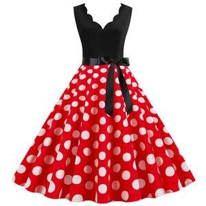 White Polka Dot Women Summer Dresses Vintage Deep V neck Pin up Party Rockabilly Dress Knee-Length 2020 Robe Plus size S-3XL
