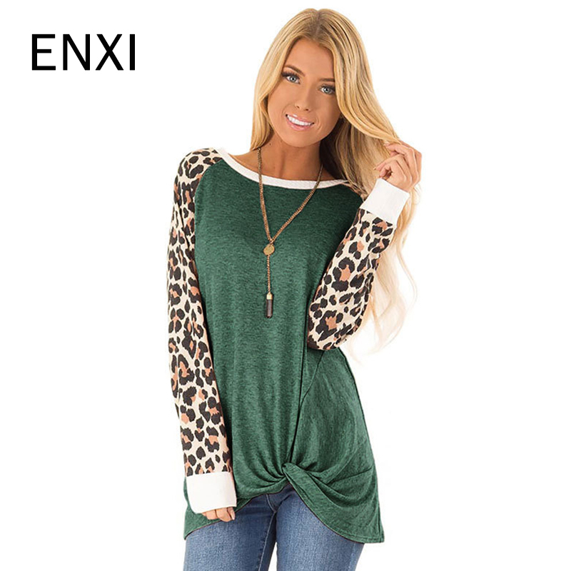 ENXI Autumn Leopard Patchwork Sleeve Pregnancy Shirt Long Sleeve Maternity Clothes Fashion Tshirt Women Mom Tops