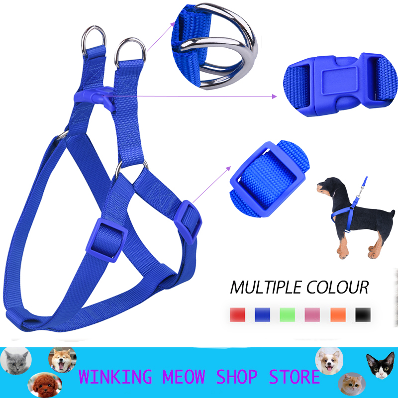 Nylon Harness Pet Dog Harness No Pull Adjustable Dog Leash Vest Classic Running Leash Strap Belt for Small and Medium Dogs S-XL