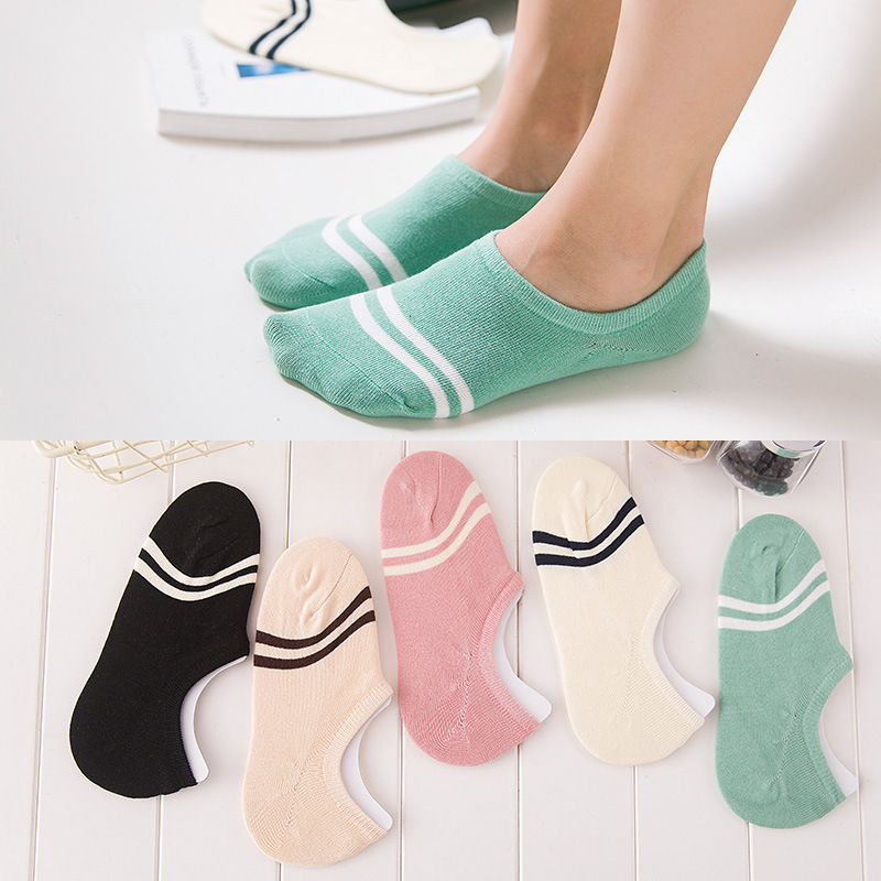 5 Pairs/lot 2019 Fashion Candy Color Stripe Boat Socks Cotton Girl Women's Socks Ankle Low cut Invisible Hosiery Ladies Slipper