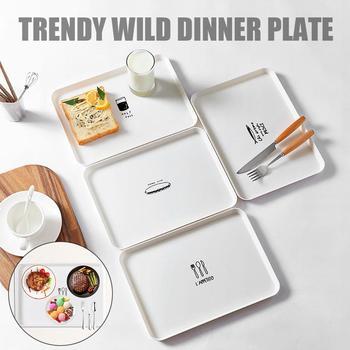 Prostokątny talerz domowy prosty talerz śniadaniowy plastikowy talerz herbaty płytki talerz deser mała taca naczynia i talerze zestawy tanie i dobre opinie Rectangle Z tworzywa sztucznego cartoon White 155g 21 3x30cm Nordic 1x dinner plate