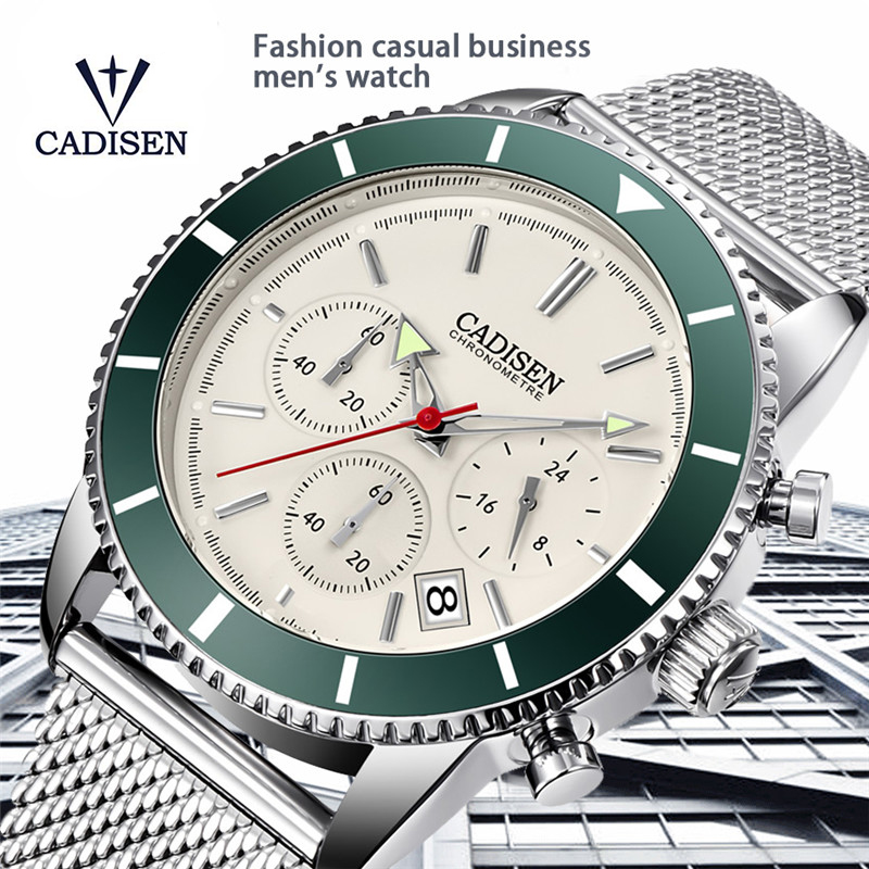 CADISEN Mens Watches Top Brand Luxury Waterproof Watch Men Sports Stainless Steel Date Military Quartz Clock Relogio Masculino