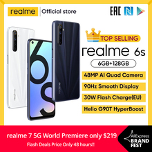 realme 6s smartphone 90Hz 6.5inch FHD+ Display Telephone 6GB 128GB mobile phone 48MP Qual Cameras Android 10 4300mAh 30W changer
