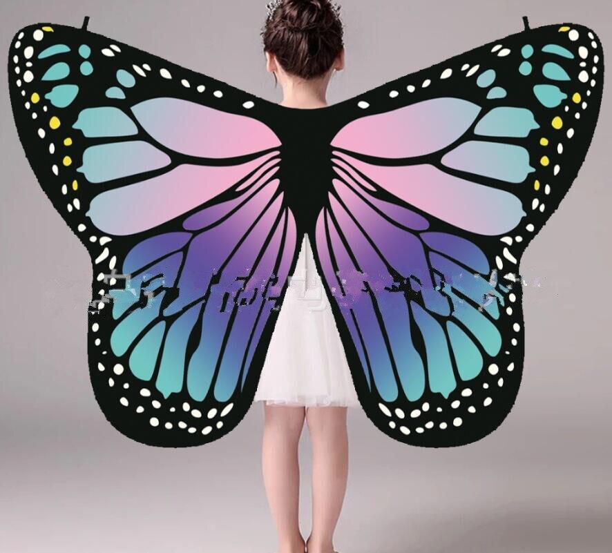 Tecido macio asas de borboleta xale fadas senhoras ninfa pixie traje acessório crianças desempenho asas azul laranja