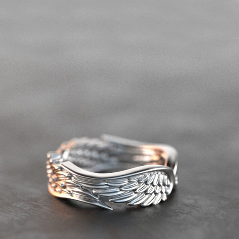 Exclusive Silver Plated Angel Wings Ring For Men Women Gothic Steampunk Party Anniversary Ring Adult Unisex Jewelry Gift H4T739 1