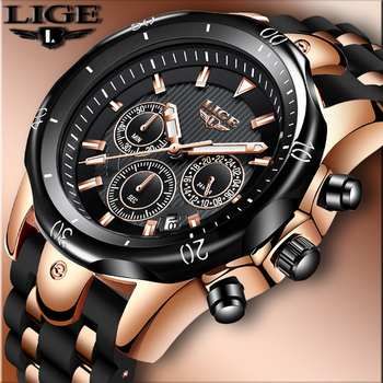 LIGE New Mens Watches Top Brand Luxury Men's Military Sports Watch Men Silicone Waterproof Clock Analog Quartz Wristwatch+Box lige new luxury brand men analog leather sports watches men s army military waterproof watch male date quartz clock reloj hombre
