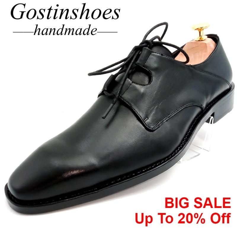 GOSTINSHOES Zapatos de vestir para hombre hechos a mano Ghillie Lacing negro cuero genuino Formal zapatos de Derby Zapatos de vestir para Hombre Zapatos GSTN25
