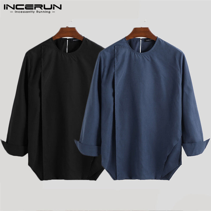 Mstyle Mens Fashion Active Slim Long Sleeve Round Neck Blouse Shirt Tops