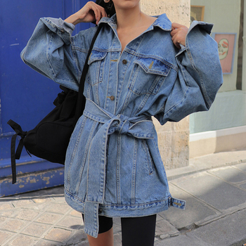 Denim Sashes Lace Up Jacket 2