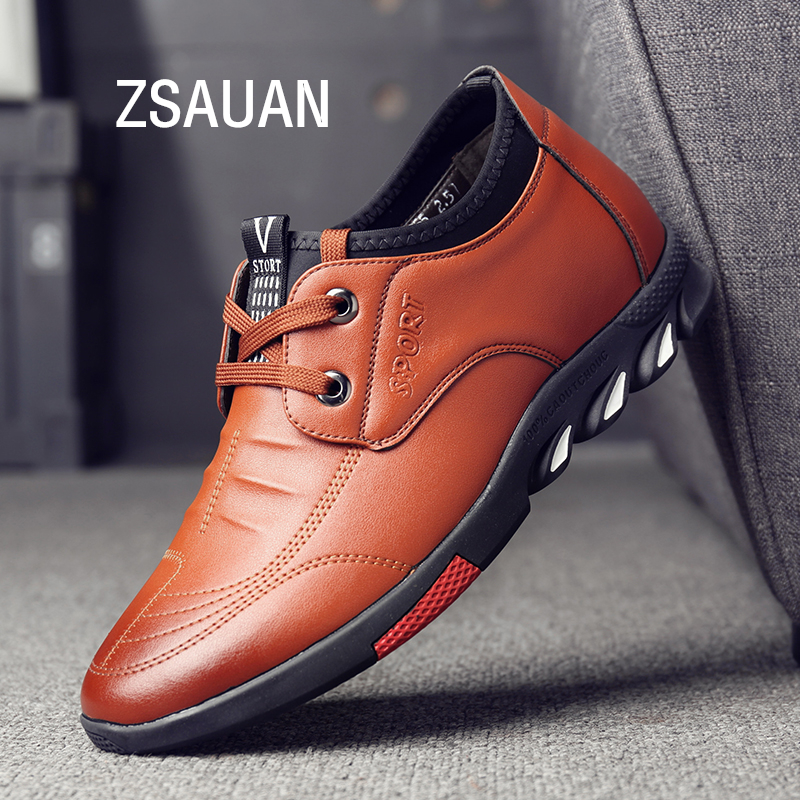 ZSAUAN 37-44 Men Leather Casual Shoes Lift Elevator Male Sneakers Fashion Young Men Mocassin Homme 5 CM Height Increasing