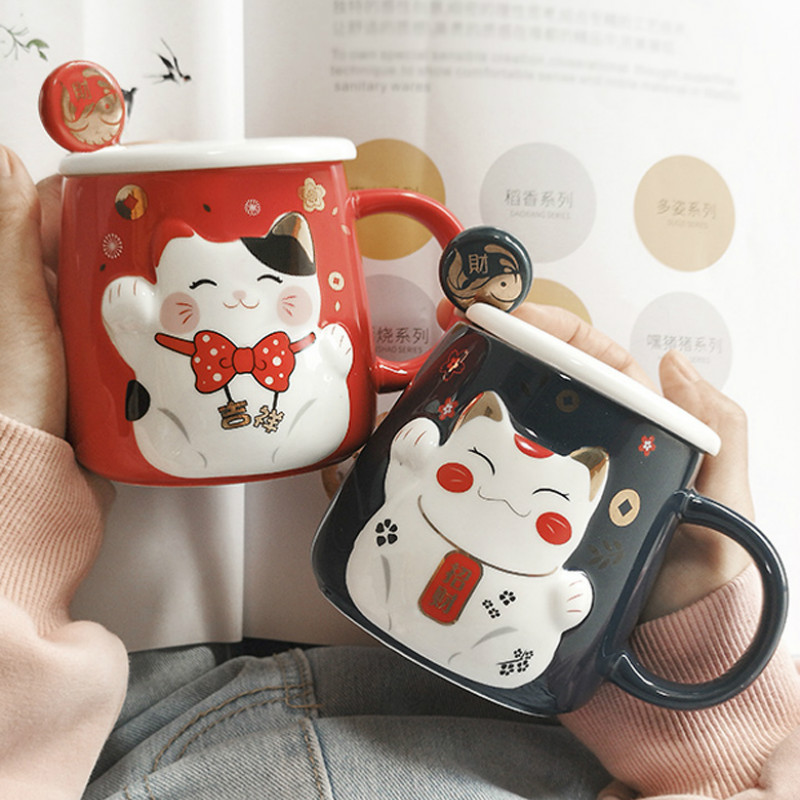 <font><b>Lucky</b></font> <font><b>Cat</b></font> Ceramic Mug Coffee with Spoon Couple Personalised Humour Espresso <font><b>Cup</b></font> Creative Milk <font><b>Cup</b></font> Kitchen Tazas Drinkware MM60MK image