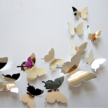 12pcs 3D Mirrors Butterfly Wall Stickers Decal Wall Art Removable Room Party Wedding Decor Home Deco Wall Sticker for Kids Room cheap ZOOYOO Mirror Surface Wall Sticker Modern For Wall Multi-piece Package jingmianhudie Plastic Animal Medium Christmas Decoration Supplies