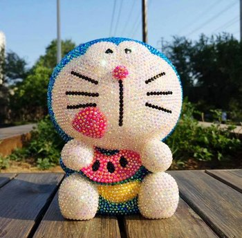 Big Rhinestone Doraemon Figurine Bling Piggy Bank Jingle Cats Handmade Lucky Cat Desk Decoration Kids Coin Bank Home Accessories