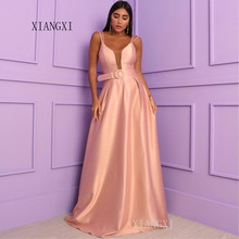 Blush Long Evening Dress 2019 Satin A-Line Spaghetti Strap Floor Length Evening Dresses robe de soiree abendkleider  - buy with discount