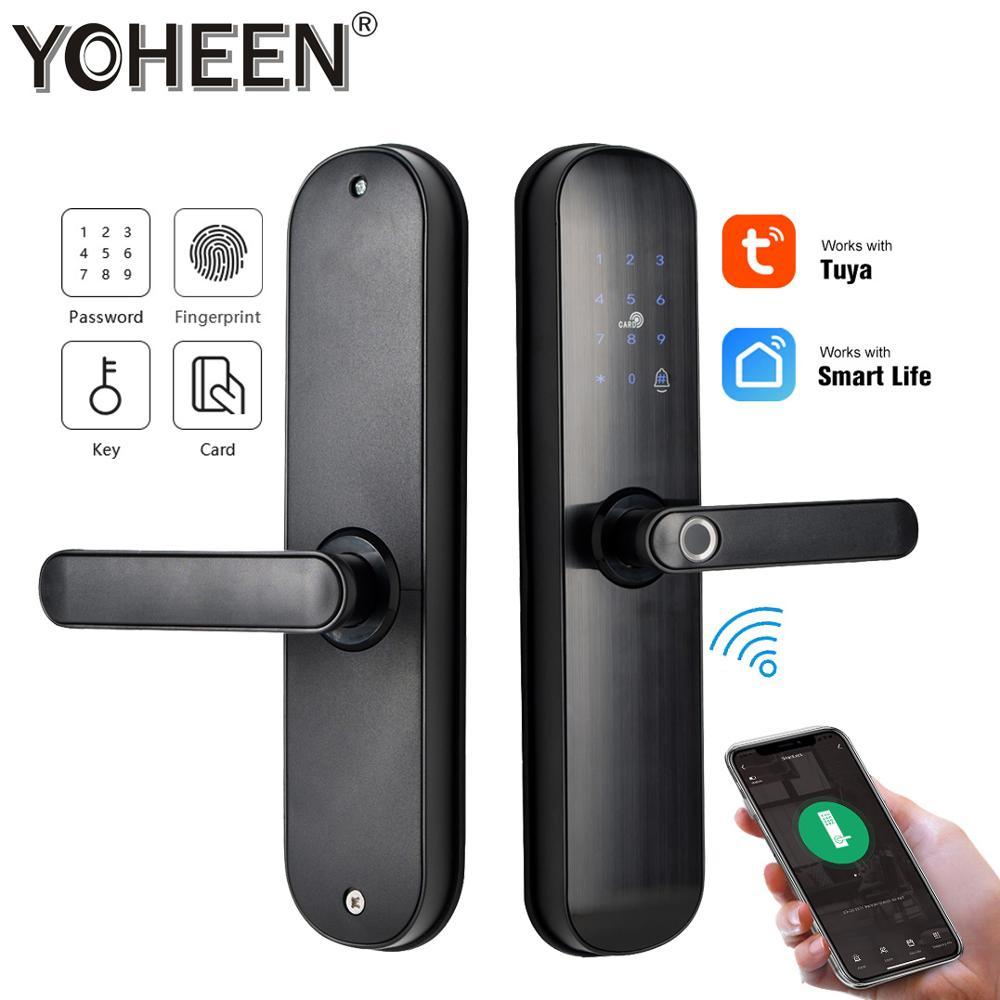 Tuya Smart Door Lock Digital Code Biometric Fingerprint Lock With Wifi Smart Life App Electric Lock Aliexpress