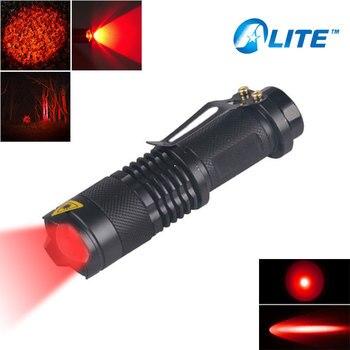 Mini zoom ajustable SK68 luz roja linterna roja caza táctica antorcha Zoomable para Detector de cámara de Hotel