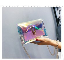 купить Laser Small Square Bag Cool Trend Fashion Handbag 2019 New Korean Version Of The Wild Single Shoulder Messenger Bag по цене 324.35 рублей