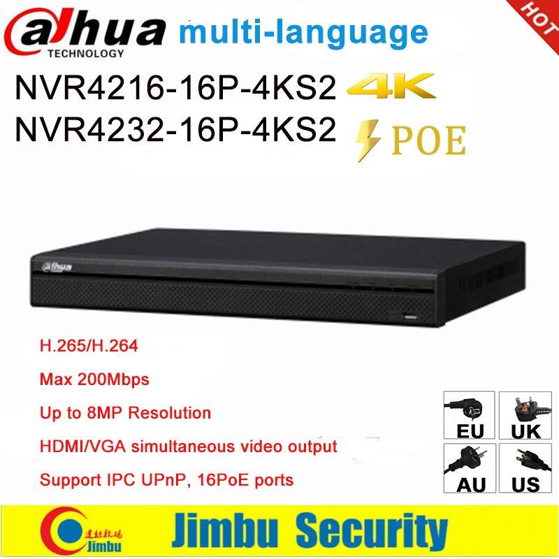Dahua NVR 16 PoE 16CH 32CH grabador de vídeo en red NVR4216-16P-4KS2 NVR4232-16P-4KS2 1U puertos 4K y H.265 Lite para 8MP resolución