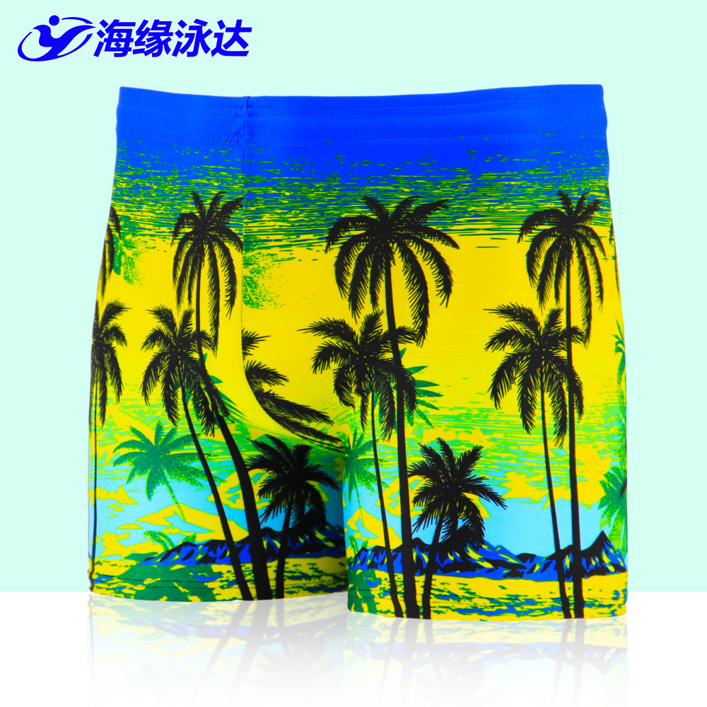 2019 New Style Men Printed Beach Swimming Trunks Seaside Palm Hot Springs AussieBum Large Size Swimwear Men's