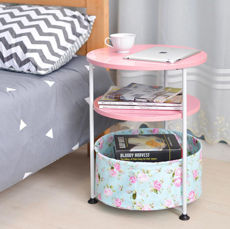 Creative Modern Round Coffee Table With Two Tier Storage Folding