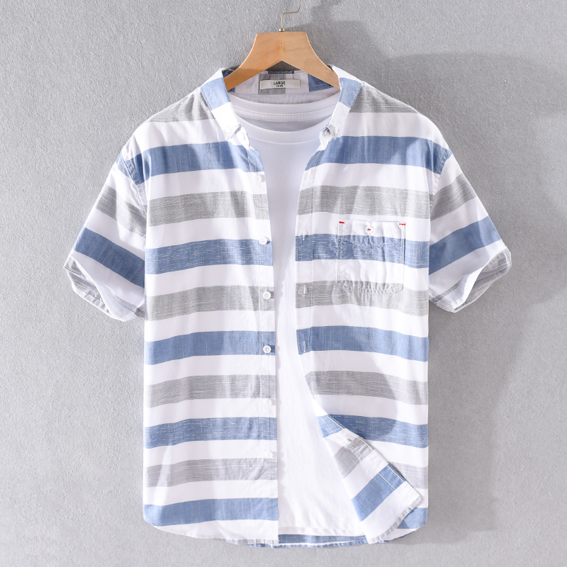 100% Cotton Stripe Short Sleeve Shirt For Men Summer Brand Shirts Men Fashion Casual Shirt Mens Comfortable Shirts Male Camisa