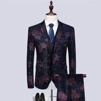 Brand New Slim Fit Casual 3 pc Mannen Jurk Pak Night Club Party Tuxedo One Button Trouwpak Voor Mannen pakken Mannen M 6XL