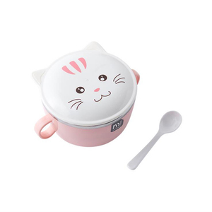 Cute Cartoon cat Stainless Steel Bowl Lunch Box with Lid For Kid Tiffin Boxes Thermal Bento School Students Dinnerware Canteen