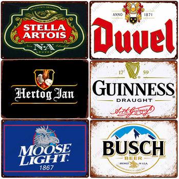 Holandia belgia piwo Vintage Metal znak blaszany Home Bar Club dekoracyjna tablica człowiek jaskinia plakaty Deer piwo dekoracje ścienne N380