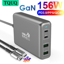 TQUQ 4-port 156W GaN Fast Charger USB C Power Adapter, PD 100W PPS 65W 45W QC4.0 for MacBook iPhone Samsung Dell Xiaomi Laptop