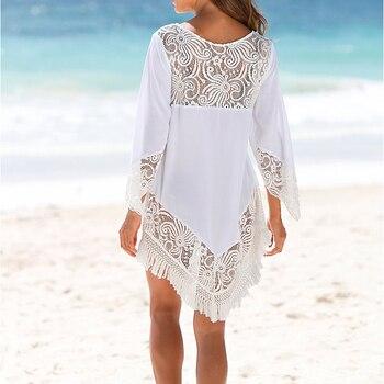 Plus size O neck Lace Patchwork Mini Beach dress Sexy Tunic for Beach 2020 vestidos cortos Casual Dress White Black Women Dress