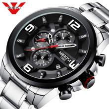 NIBOSI büyük erkek saatler lüks üst marka kuvars kol saati yaratıcı büyük arama paslanmaz çelik spor İzle erkekler Relogio Masculino