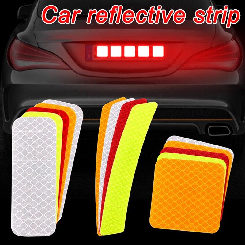 10 pièces voiture porte autocollant autocollant avertissement marque bande réfléchissante autocollant bande réfléchissante ouvert haute signe sécurité lumière réflecteur bande