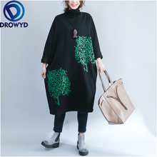 Plus Size Black Midi Dress for Women Casual Print Velvet Padded Autumn and Winter Fashion Street Party Vestidos