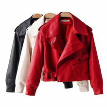 2021 New Women Faux Leather Jacket Turn-down Collar Casual Pu Leather Jackets Female Short Loose Motorcycle Biker Coat Outwear