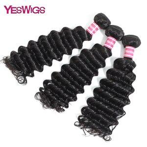 Yeswigs cabello peruano no Remy tejido 3 mechones extensiones de cabello humano onda profunda mechones de cabello oferta Color Natural envío gratis