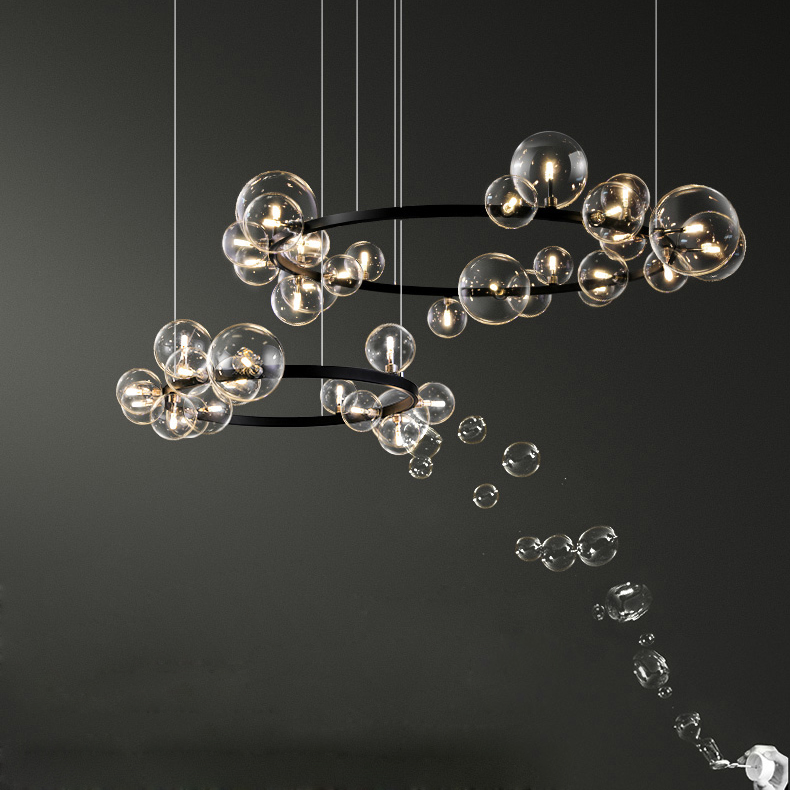 LED Postmodern Glass Bubble Golden Black Round Chandelier Lighting Suspension Luminaire Lampen For  Foyer