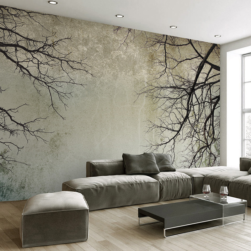 Custom 3D Photo Wallpaper Home Decor Nordic Style Creative Abstract Art Tree Branches Papel De Parede Desktop Mural Wallpaper 3D