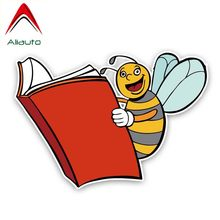 Aliauto Interesting Car Sticker A Bee Is Reading A Book Vinyl Accessories Pvc Decal for Tiguan Infiniti Peugeot 308,16cm*11cm(China)