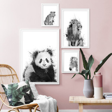 цена на Panda Leopard Lion Zebra Wall Art Print Canvas Painting Nordic Canvas Poster And Prints Wall Pictures For Living Room Home Decor